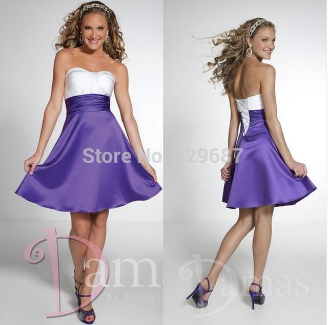 New Sweetheart Elegant A Line Maid Of Honor Satin Short Party Gown Purple And White