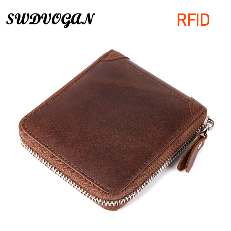 2018 RFID Wallet Men Leather Genuine Vintage Crazy Horse Men Wallets Male Coin Purse Zipper Small Card Holder Carteira Hombre baellerry small mens wallets vintage dull polish short dollar price male cards purse mini leather men wallet carteira masculina