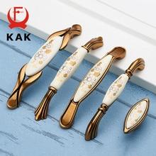 KAK винтажные бронзовые керамические ручки для шкафов, ручки для ящиков, ручки для шкафа, двери шкафа, европейские ручки для мебели, фурнитура для шкафа