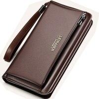 men wallets man Genuine Leather wallet card holder luxury brand long wallet mens wallets big zipper brieftasche leather purse