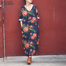 ZANZEA Women Dresses 2017 Ladies Vintage Floral Print Long Maxi Dress Three Quarter V Neck Pockets Casual Loose Robe Veatidos