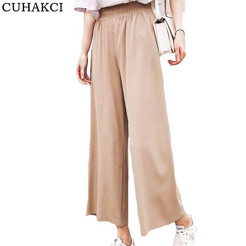 CUHAKCI Summer   Wide     Leg     Pants   Women Pleated Ladies Leisure Ankle Length Plus Size Trousers Loose Casual Elastic High Waist   Pants