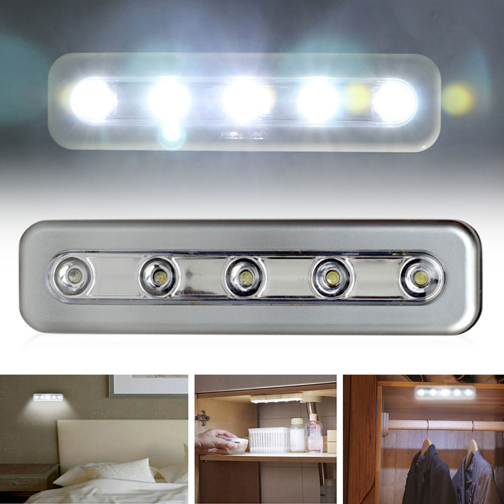 Mini 5 LED Cabinet Night Light Use Battery Wireless LED Bar Light Stick-on Tap Push Nightlight Under Kitchen Lamp Wall Light
