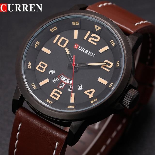fafb309058a Pulseira de couro curren marca de luxo original do exército militar watche  homens hora relógio de