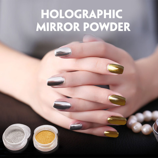 Polaco pigmento plata y oro efecto espejo para diseño de uñas ...