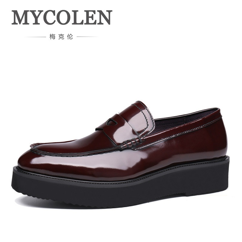 MYCOLEN Thick Bottom Round Toe Men Formal Shoes Cow Genuine Leather Lace Up Male Footwear Shoes Top Quality Brand Fashion Shoes slip on men casual shoes male sandal new fashion genuine leather low heel high quality brand korean style thick bottom plus size