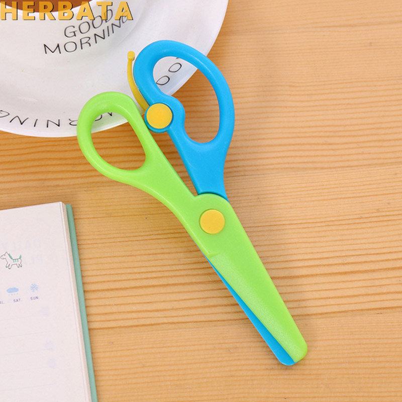 New 1 Pc 137mm Mini Safety Round Head Plastic Scissors Student Kids Paper Cutting Minions Supplies For Kindergarten School 1105