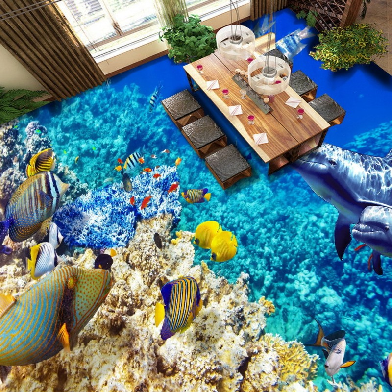 Free Shipping Underwater world marine tropical fish coral reef flooring painting bathroom decorative self-adhesive floor mural корм tetra tetramin xl flakes complete food for larger tropical fish крупные хлопья для больших тропических рыб 10л 769946