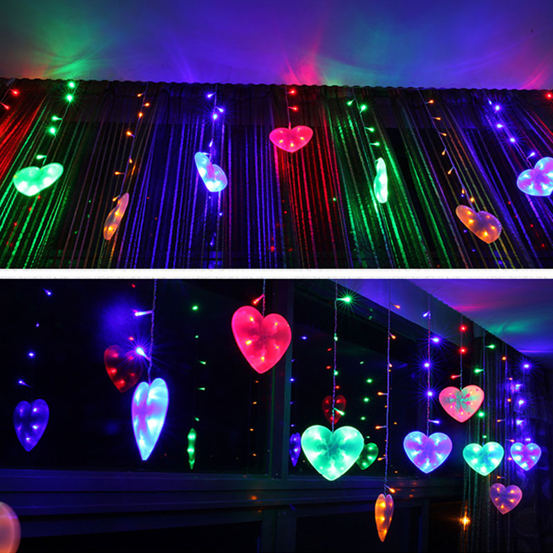 EU Plug 3M LED String Lights Love Heart Shape Strip Lamp Festival Holiday Curtain Light  ...
