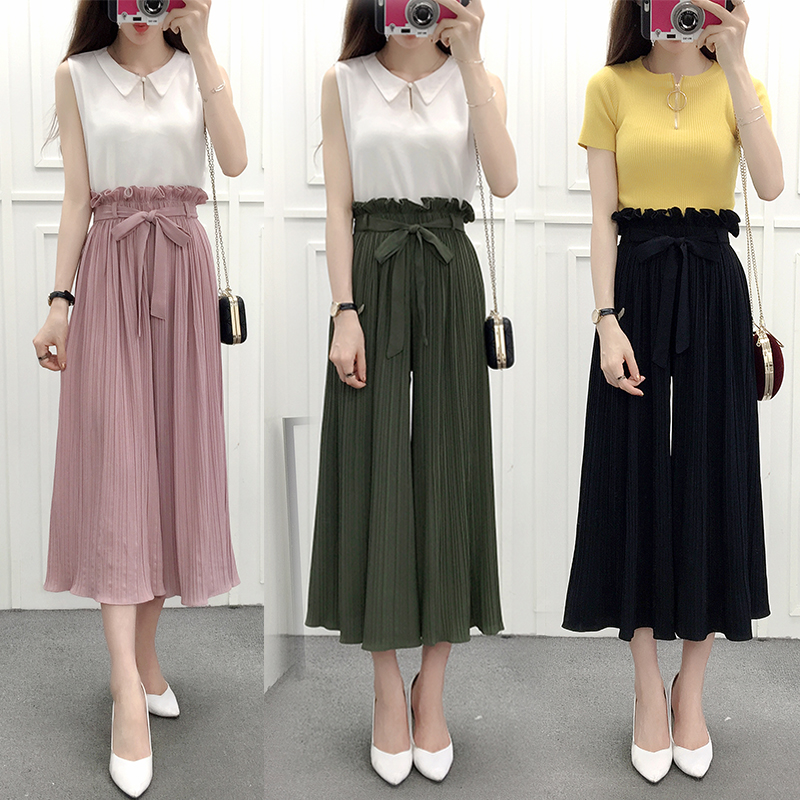 Fashion Hot New   Wide     Leg     Pants   Spring Summer Korean Ruffles High waist Pleated   pants   Chiffon Women skirt with Lace up