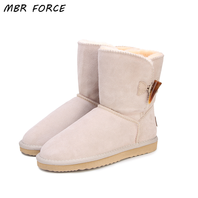 MBR FORCE Brand New Arrive Real Cow Leather Winter Boots High Quality Fashion Women Snow Boots Thick Plush Warm Boots Women