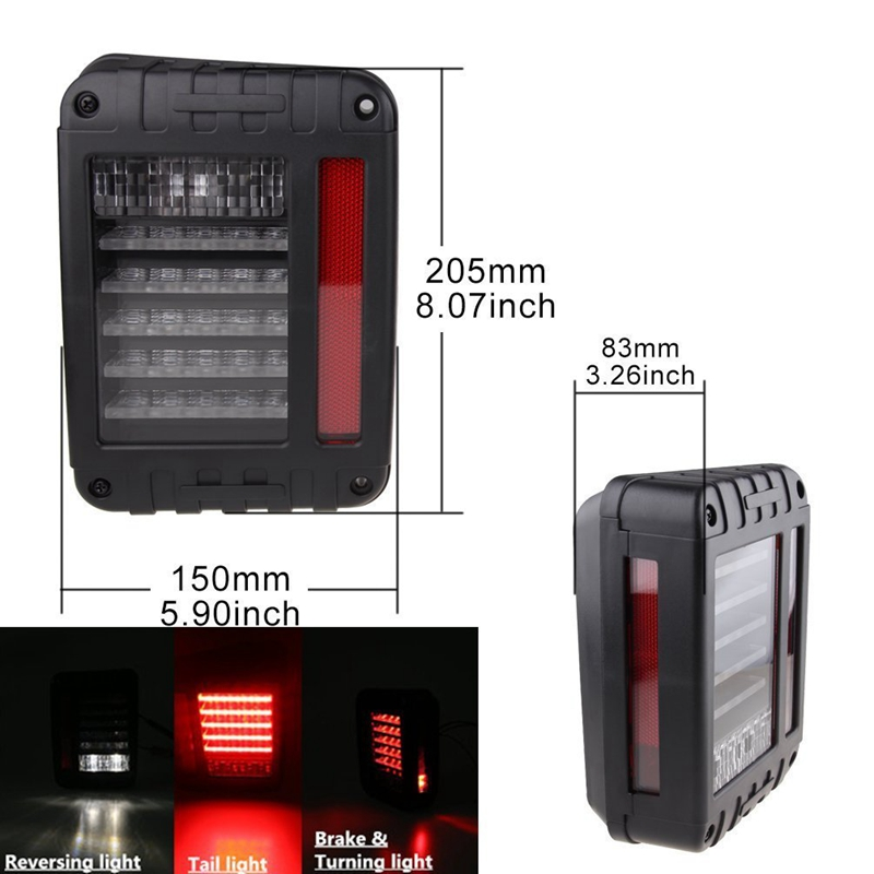 LED Tail Brake Reverse Lights Fit for 07-16 Jeep JK Wrangler Plug and Play Directly replace stock high quality new generation led car rear taillights tail lamps for jeep wrangler jk play and plug