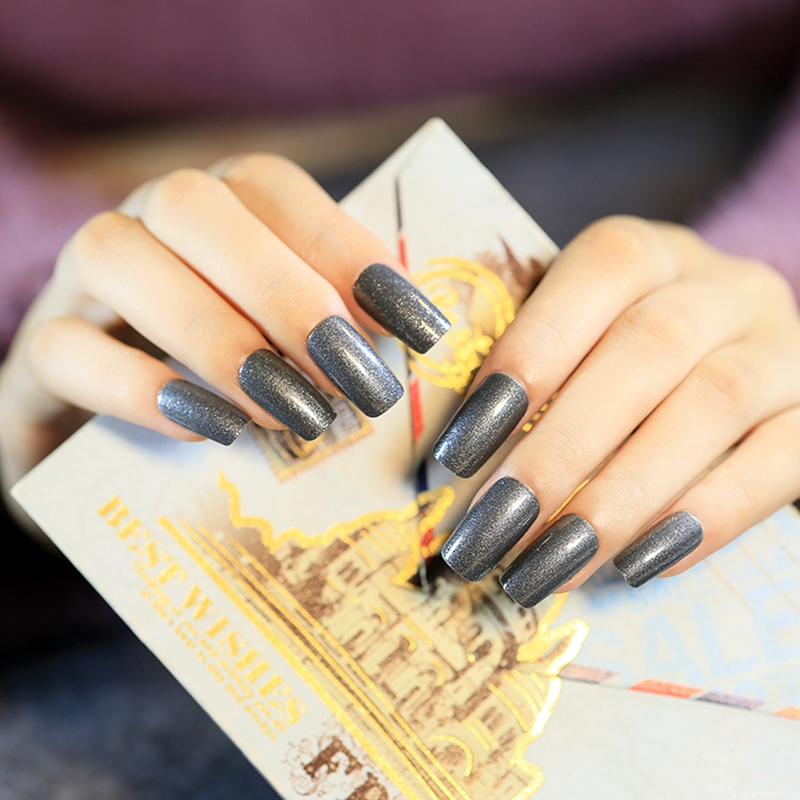 diy ногтей аксессуары мерцающий темно-серый накладные