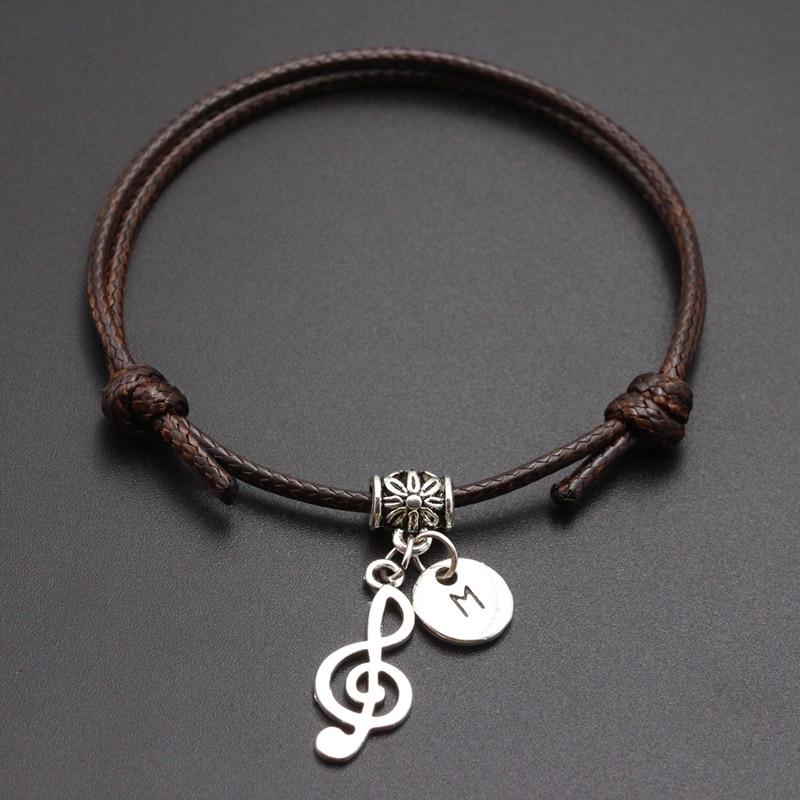 New A-Z Letters Cute Music Note Pendant Red Thread String Bracelet Handmade Diy Lucky Rope Bracelet For Women Men Jewelry Gift
