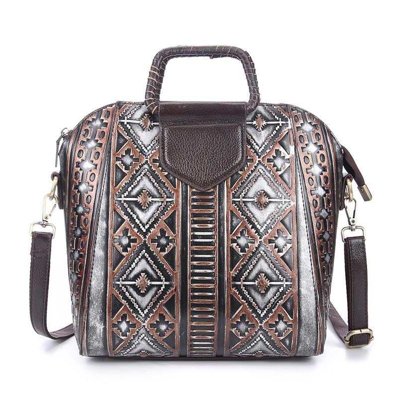 Brand Retro Engraved Genuine Leather Ladies Casual Handle Bag Women's Messenger Bags Shoulder Bag Handbag Zipper Shell Style