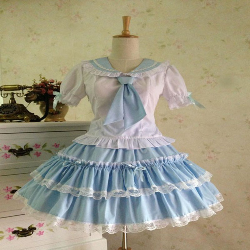 Customized 2018 Sweet Women's Lolita Dresses Summer Blue and Pink Short Sleeve Lolita Sets Costume For Girl