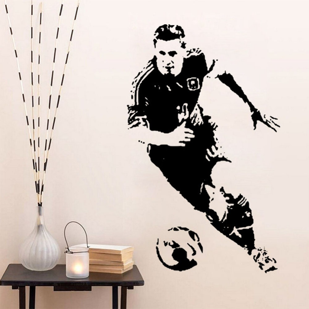 53x85cm Football Famous Star Carved Player Lionel Messi Wall Stickers Football Star Decalse Sports Living Room Art Vinyl Y 107 in Wall Stickers from Home Garden