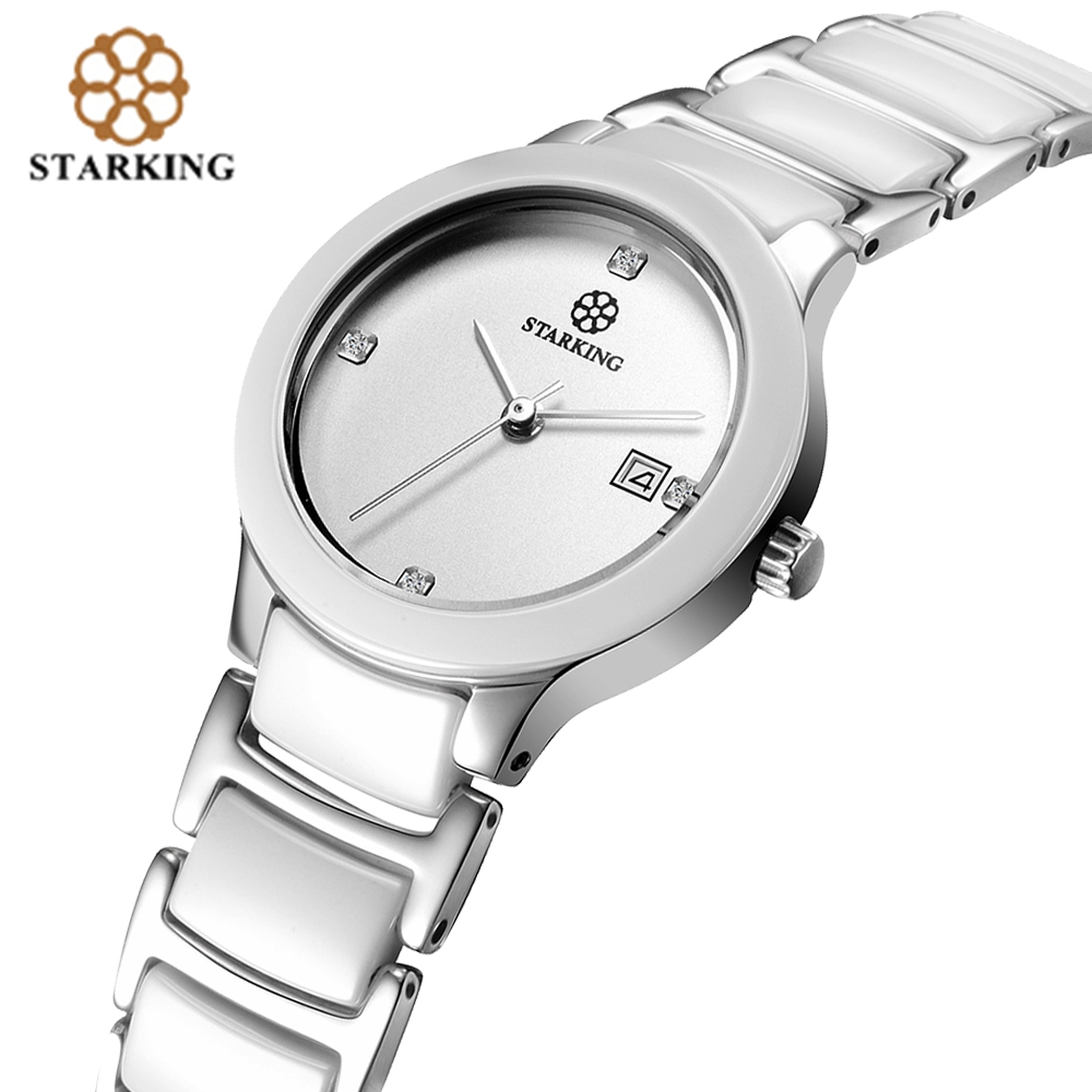 STARKING Rose Gold Ceramic Female Dress Wrist Watch Simple Elegant Ladies Quartz Movement Watches Relogio Feminino elegant ceramic quartz wrist watch for female white silver 1 x 377