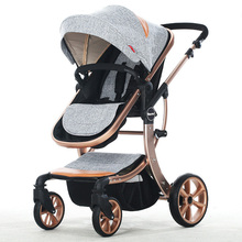 High Quality High Landscape Luxury baby stroller four wheels seat and lie down