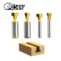 XCAN 4pcs Set T Slot Milling Cutters 2pcs 1 2 Shank Router Bit 2pcs 1 4