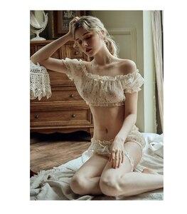 Image 3 - Conjunto de ropa interior con estampado de estrellas para mujer, top de gasa fina con hombros descubiertos, pantalones cortos, anillo para la pierna, pijama Sexy de tentación para Lencería
