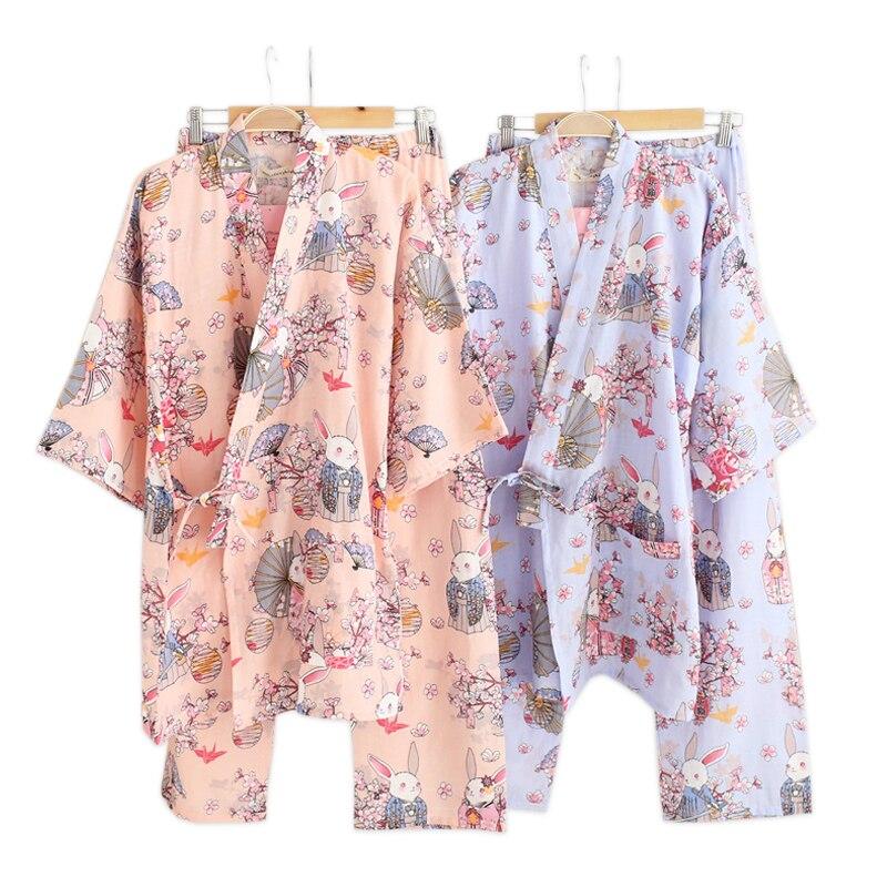 Spring 100% gauze cotton Japanese women kimono   pajamas     sets   long-sleeve sakura rabbit pyjamas simple pijama SPA Robes for women