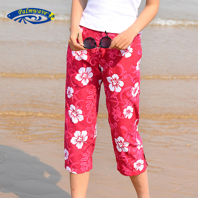 c6eacd42f5f732 2018 Summer Women Casual Jeanette Capris Beach Pants Floral Printed Female  Quick Dry Trousers Plus Size Hawaii Pant D090