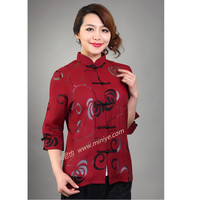 2015 Autumn Burgundy Vintage Lady Linen Cotton Outwear Stylish Hollow Out Jacket Noble Flower Coat Size