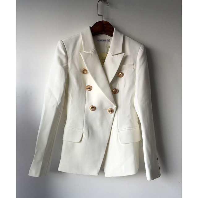 HIGH QUALITY New Fashion 2018 Star Style Designer Blazer Women's Gold Buttons Double Breasted Blazer size S-XXL 2