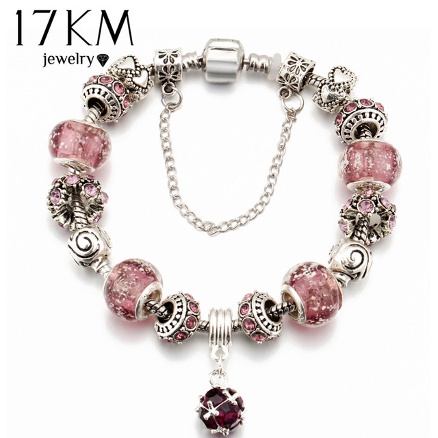 17KM Fashion Silver Color Glass Charm Bracelets & Bangles For Women Vintage Crys