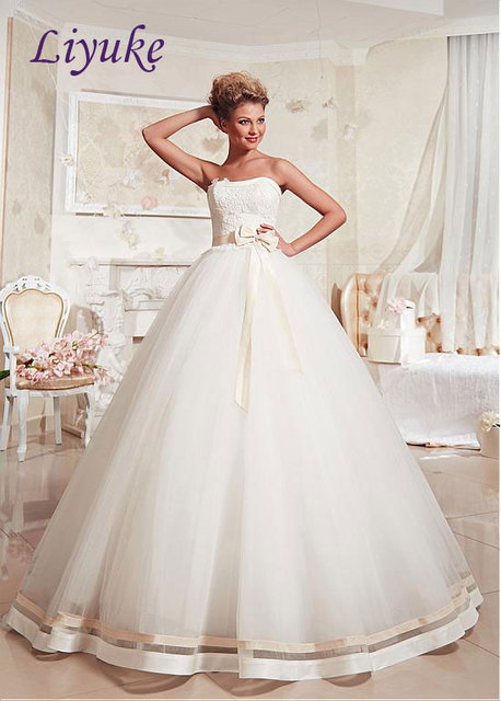 Stunning Organza Strapless Lace Up Princss Ball Gown Wedding Dress Bow Sash Off The Shoulder Tiered