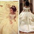Vestidos Da Menina de Flor do Laço do vintage Elegante Off Ombro Largo Decote Em V Ball Vestido Menina Vestidos Pageant Vestidos MF04