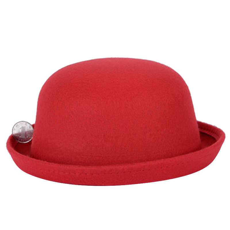 09dab34d482 2018 Fashion Winter Hat Fedora For Woman Vintage Adult Lady Cute Children  Elegant Trendy Wool Felt