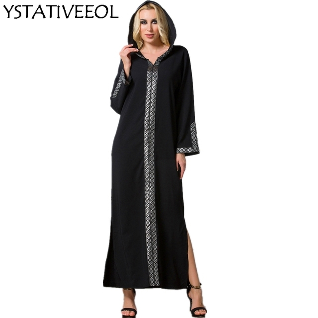 23f5fa3e7 Mulheres Cardigan Casual Moda Abaya muçulmano Vestuário Islâmico Abaya  Árabe Lace Aberto com chapéu bordado manga