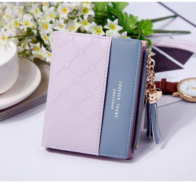 Leather Small Wallet Women Mini Women Wallets Purses Female Short Coin Zipper Purse Holder Tassel Zipper Button Bag (16)