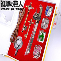 DZ800 New Attack On Titan 8 Pcs Character Metal Keychain Collection In Box