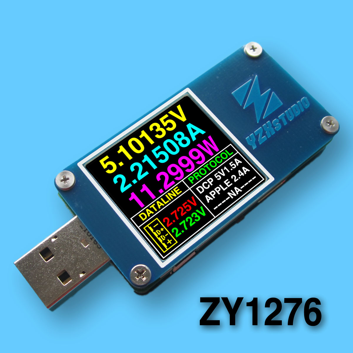 YZXstudio ZY1276 Blue Table ZY1270 Color Meter USB PD TC Voltage Current Capacity Tester t50n usb dual channel power monitor pd qc3 0 qc2 0 tester meter voltage current capacity table aviation aluminum case