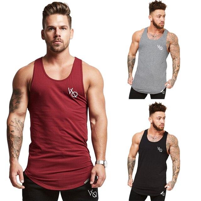 94a625d060fe1 Men s Longline Vest Step Hem Extreme Racer Back Gym Tank Tops Singlet  Elasticity Tranning Workout Stringer