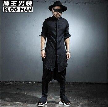 2020 Summer Thin Fluid Long-sleeve Shirt Men Medium-long Linen Shirt Long Gown Hairstylist Nightclub Singer Costumes Clothing