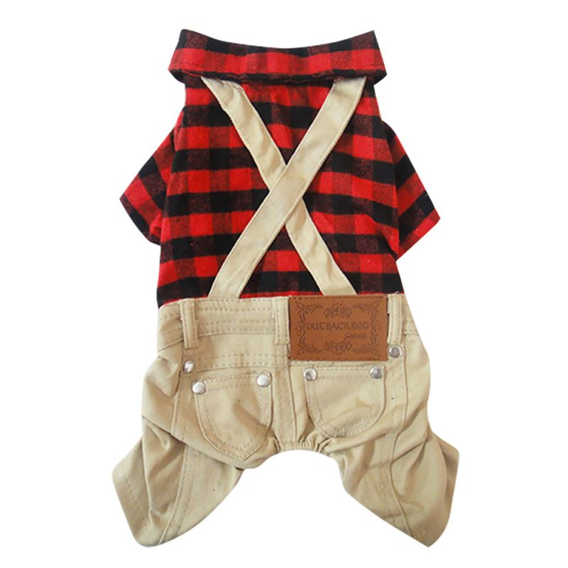 Vintage Dog Clothes Classic Red Plaid Shirt Khaki Trousers Dog Jumpsuit Siamese Shorts Brushed Lattice Bib  Spring Autumn Suppli plaid