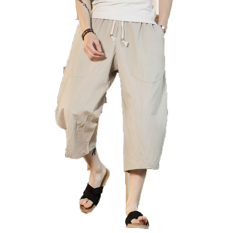 Man Streetwear Harem-Pants Hiphop Trousers Linen Elastic-Waist Loose Chinese-Type Wide-Leg
