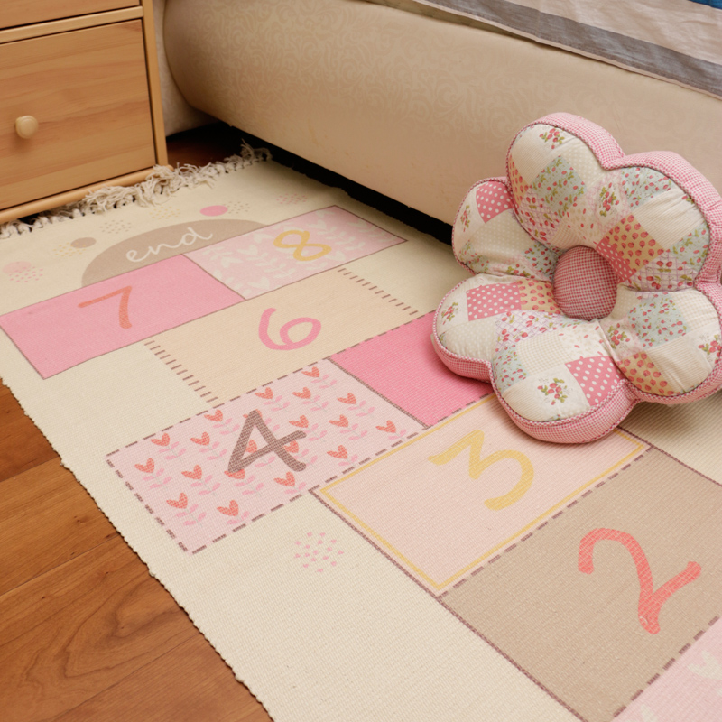 Kids Room Bedroom Carpet Bedside Rug Rectangular Ottomans Cotton Woven Baby Game Crawling Floor Mat Machine Wash