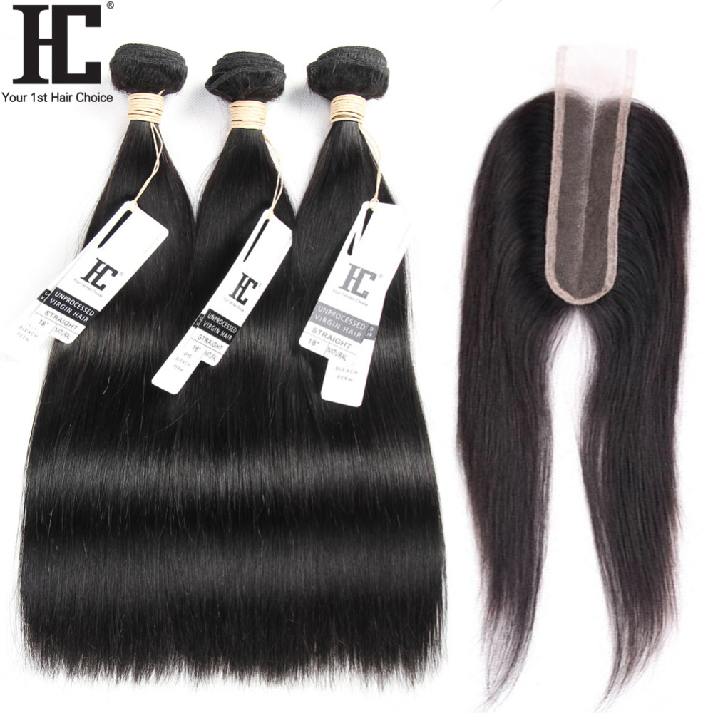 HC 2x6 Closure And Bundles Straight Hair 3 Bundles With Closure Brazilian Human Hair Weave With Closure Bleached Knots Non Remy