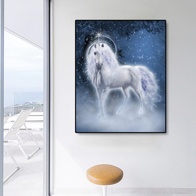 Laeacco Canvas Painting Calligraphy White Unicorn Posters and Prints Kids Room Wall Art Pictures For Living Room Home Decoration