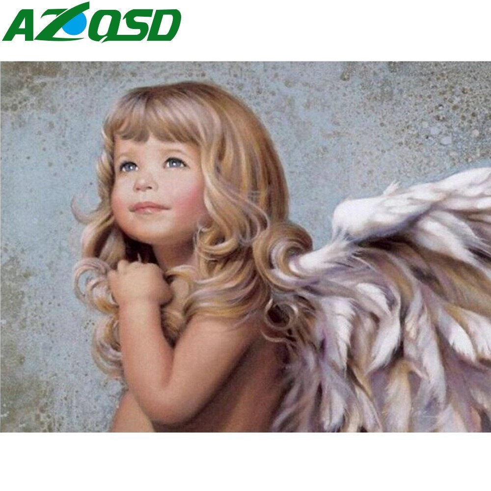 AZQSD Painting By Numbers Cute Angle Baby Frameless 40x50cm Oil Painting Picture By Numbers On Canvas Home Decor Szyh085