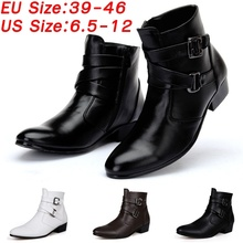 цены Plus Size 6.5-12 Men Fashion Casual Pointed Toe Leather Shoes British Style Ankle Boots Chelsea Boots  male comfortable shoe