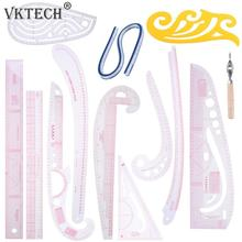 13st / set Multifunktionslinjers Curve Set Cutting Linjers Yardstick Sleeve Arm Curve Cut Cutting Knife Linjersyverktyg