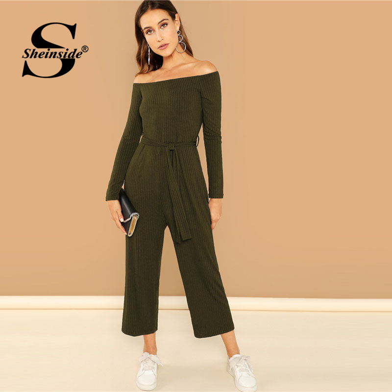 Sheinside Off Shoulder Tie Waist Wide Leg Solid Jumpsuit Long Sleeve Stretchy Clothes 2018 Autumn Ladies Workwear Jumpsuits