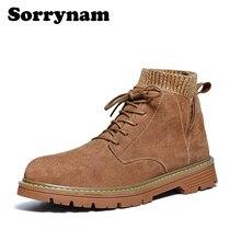 Мужские зимние ботинки martin; мужские Ботильоны; Мужская зимняя обувь; Рабочая обувь в байкерском стиле; Уличная обувь; Sorrynam