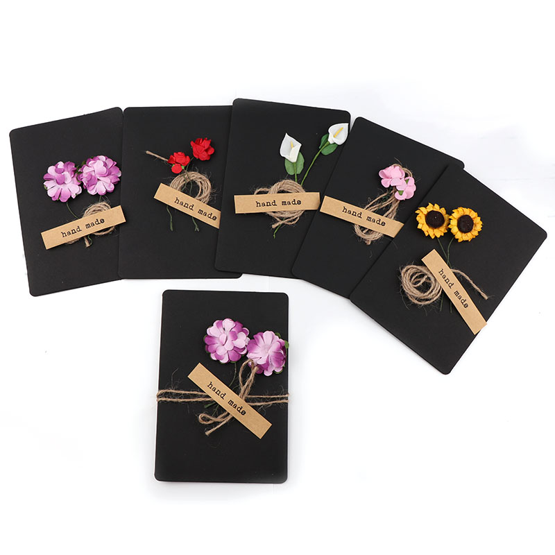 3pc/lot Hand Made Black Dried Flowers DIY Greeting / Thank You / Blessing Cards And Envelope School Stationery Supplies Flower